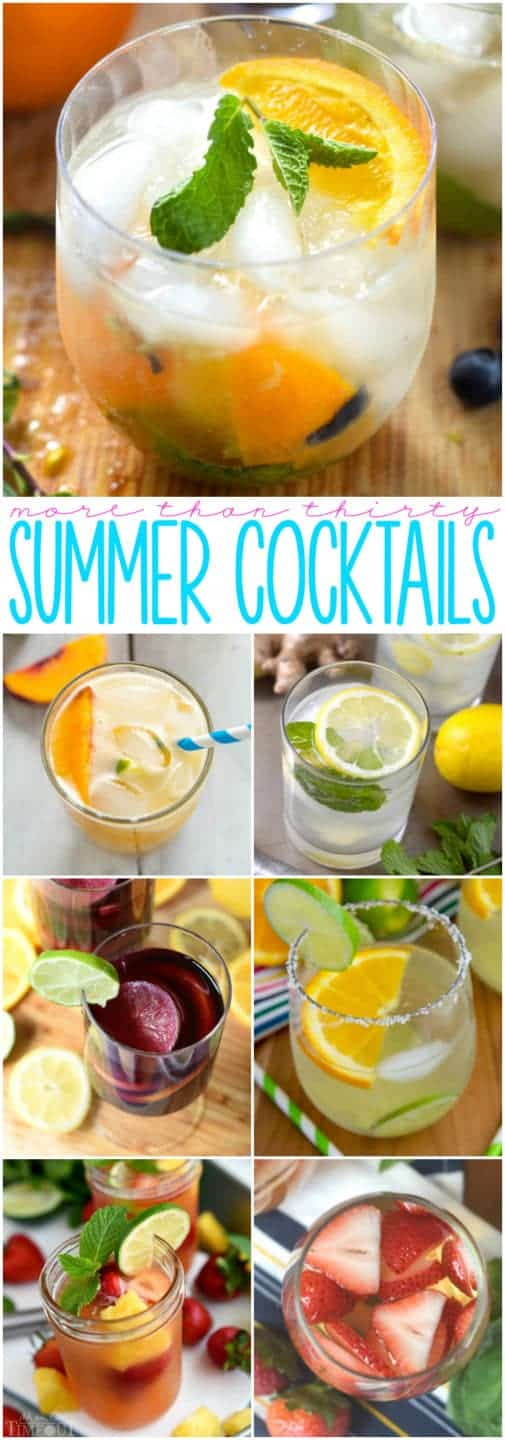 More Than Thirty Summer Cocktails that are perfect for BBQ's, picnics, nights on the patio, and summer entertaining!
