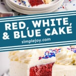 pinterest graphic of Red, White, and Blue Cake