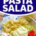 Pinterest graphic of crab pasta salad