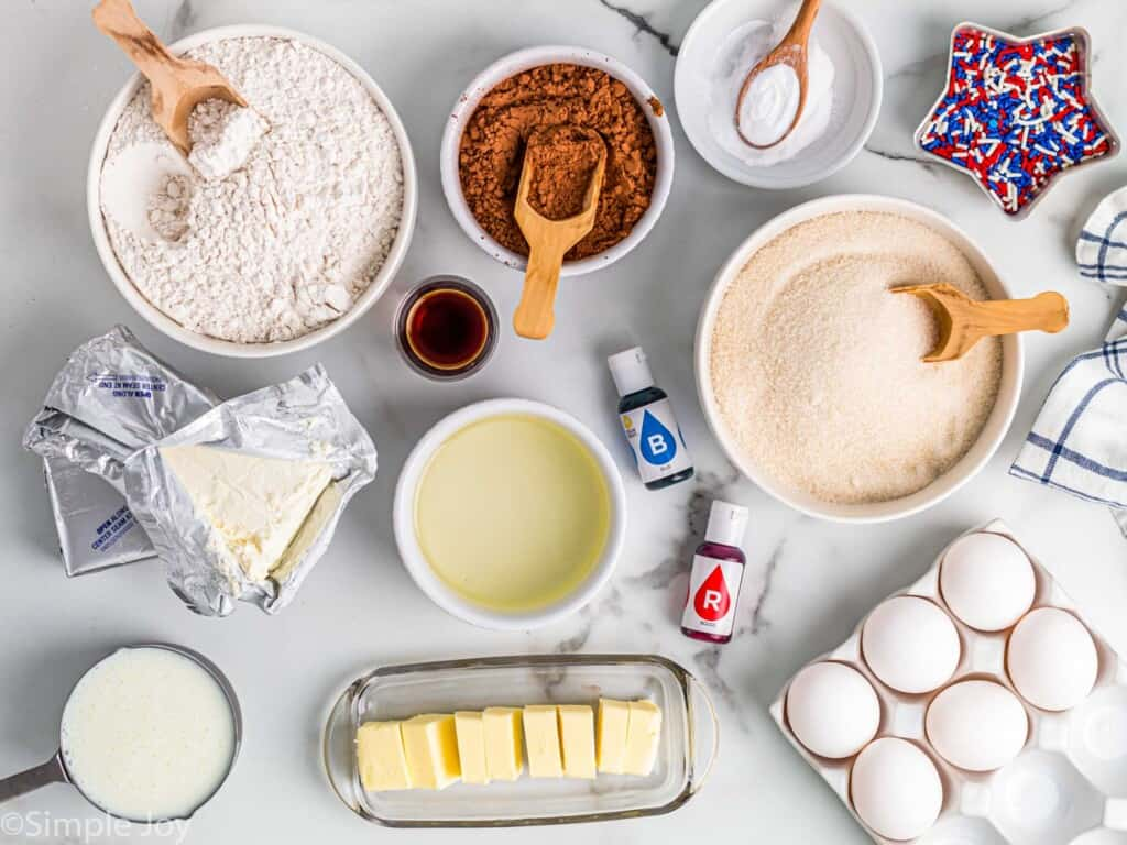 overhead of the ingredients used to make Red, White, and Blue Cake