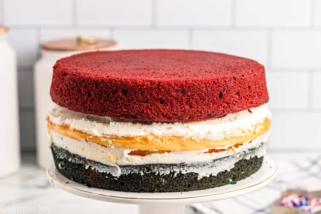 red white and blue layer cake unfrosted