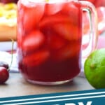 pinterest graphic showing a mason jar with a handle full of cherry limeade