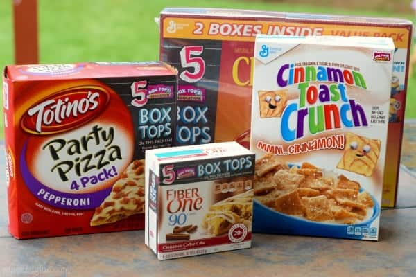 Four boxes are shown: Fiber One Cinnamon Coffee Cake Bars, Totino's Party Pizza 4 Pack, a 2 pack of Cheerio box, and a box of Cinnamon Toast Crunch.