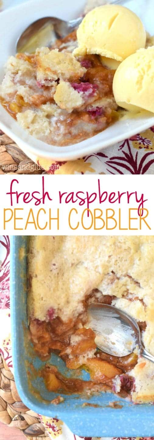 This Fresh Raspberry Peach Cobbler made with fresh raspberries and fresh peaches is the perfect way to bake summer!