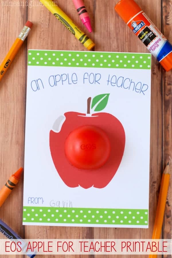 EOS Apple For Teacher Printable {FREE PDF File or Silhouette Print & Cut}