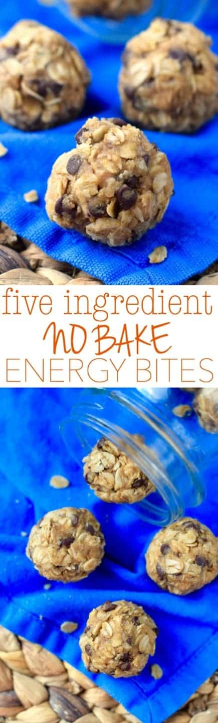 These Five Ingredient No Bake Energy Bites are easy to throw together and make such a perfect snack!