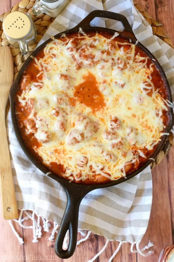 This Lightened Up Skillet Lasagna is ready in under 30 minutes, made from scratch, and is INSANELY good!