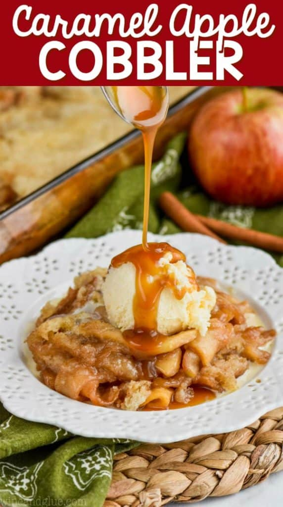 apple cobbler recipe on white plate with ice cream and caramel
