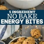 collage of no bake energy bites