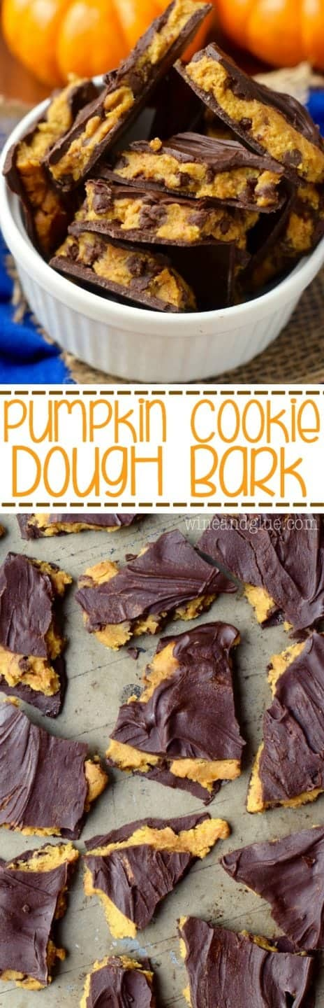 An overhead photo of the Pumpkin Cookie Bark in a ceramic bowl showing that the pumpkin cookie dough is wedged between two layers of chocolate.