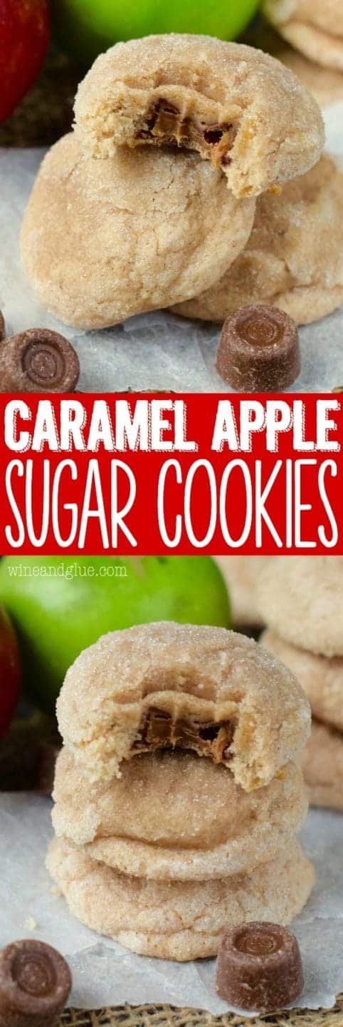 The Caramel Apple Sugar Cookies are stacked on top of each other. The top most cookie has a bite showing the gooey caramel interior.