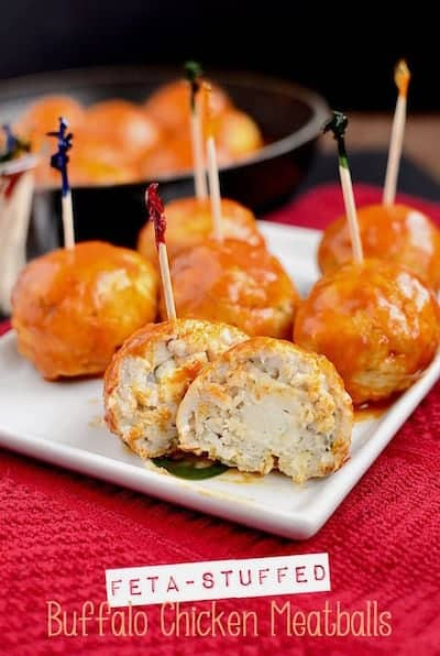 Feta Stuffed Buffalo Chicken Meatballs