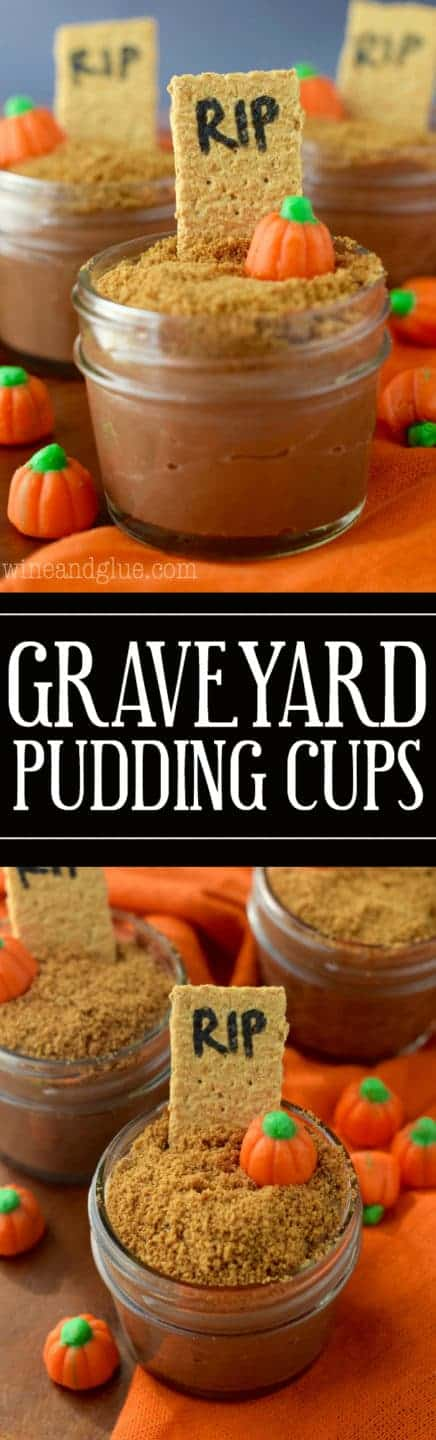 Super cute Graveyard Pudding Cups with made from scratch Pumpkin Spice Chocolate Pudding!