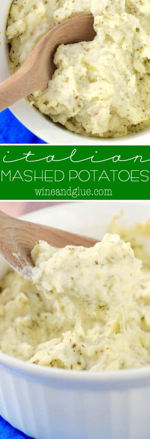 The Italian Mashed Potatoes has a fluffy and creamy texture with speckles of green from the spices.