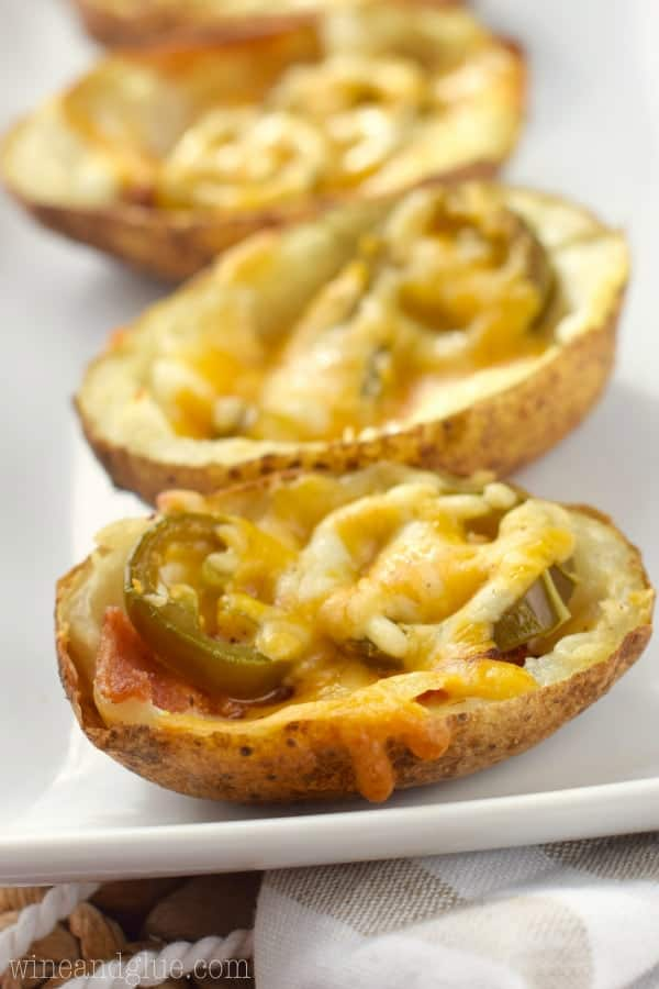 These Jalapeño Popper Potato Skins come together fast and are so delicious. They make a perfect game day snack!