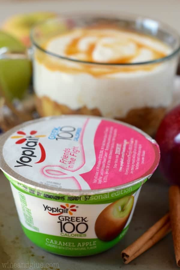 A picture of the Yoplait Greek 100 calories Caramel Apple infront of the Lightened Up Apple Cider Dip.