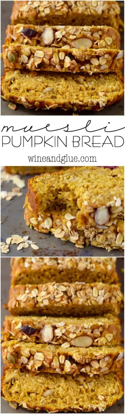 This Muesli Pumpkin Bread is an easy quick bread that is packed with delicious muesli!