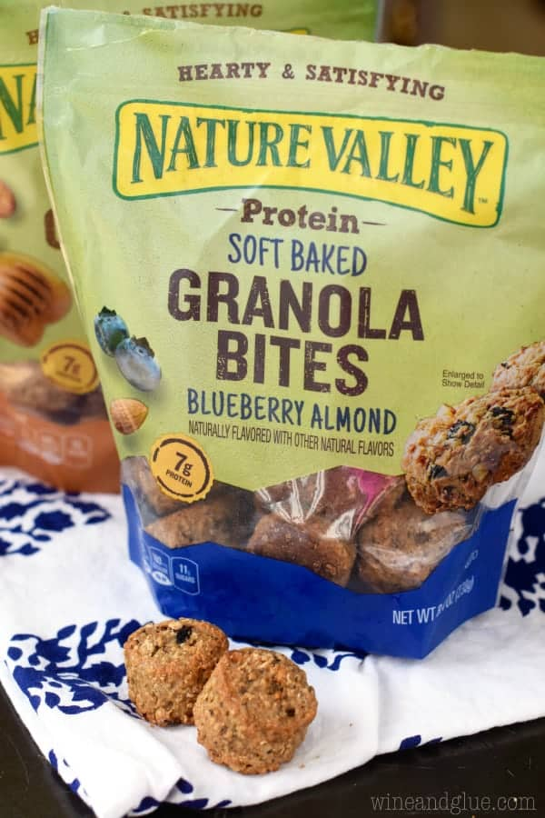 A photo of the Nature Valley Protein Soft Baked Granola Bites (Blueberry Almond)