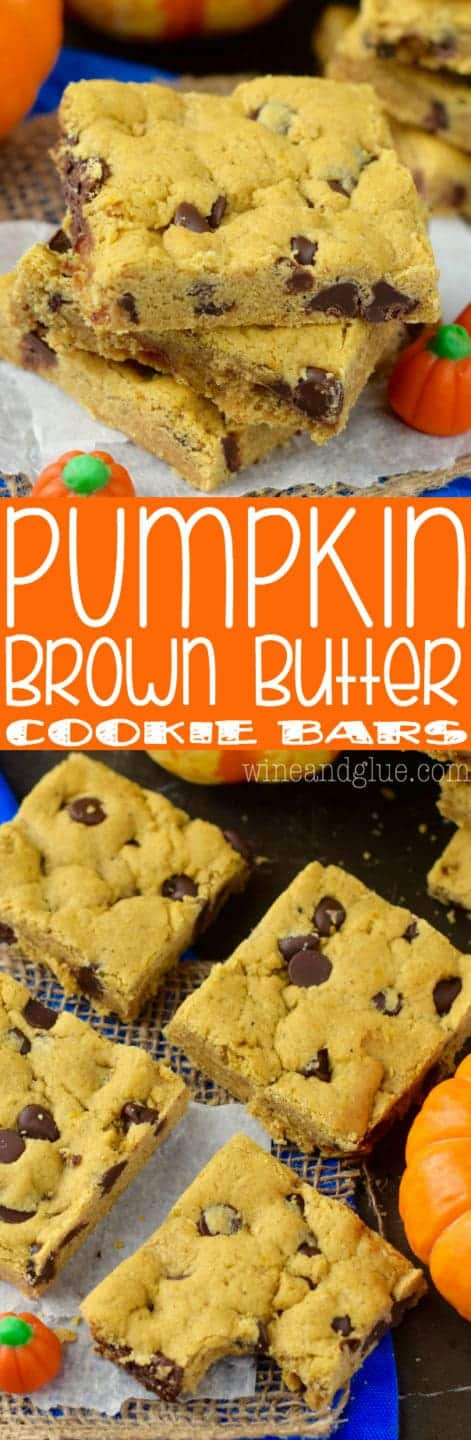 In a stack of three, the Pumpkin Brown Butter Cookie Bars have a light golden brown hue with chocolate chips oozing out.