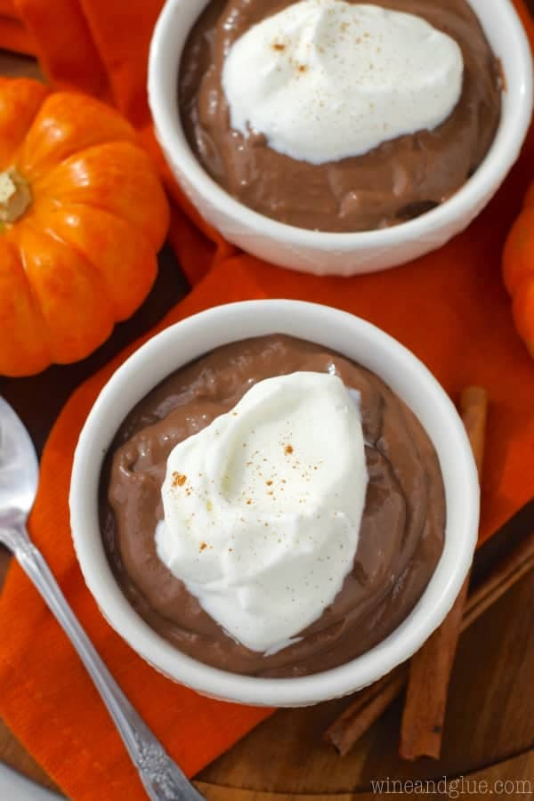 This Pumpkin Spice Chocolate Pudding is made from scratch but comes together so easily! A perfect and delicious fall dessert!
