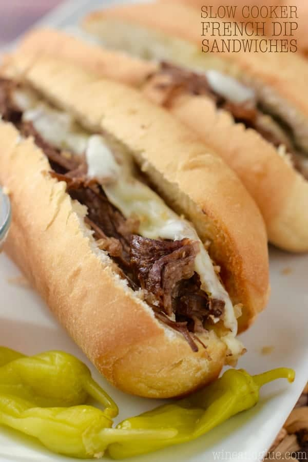 This French Dip Sandwich recipe is made in the slow cooker and are easy and packed with flavor! Perfect for an easy weeknight meal or to feed a crowd.