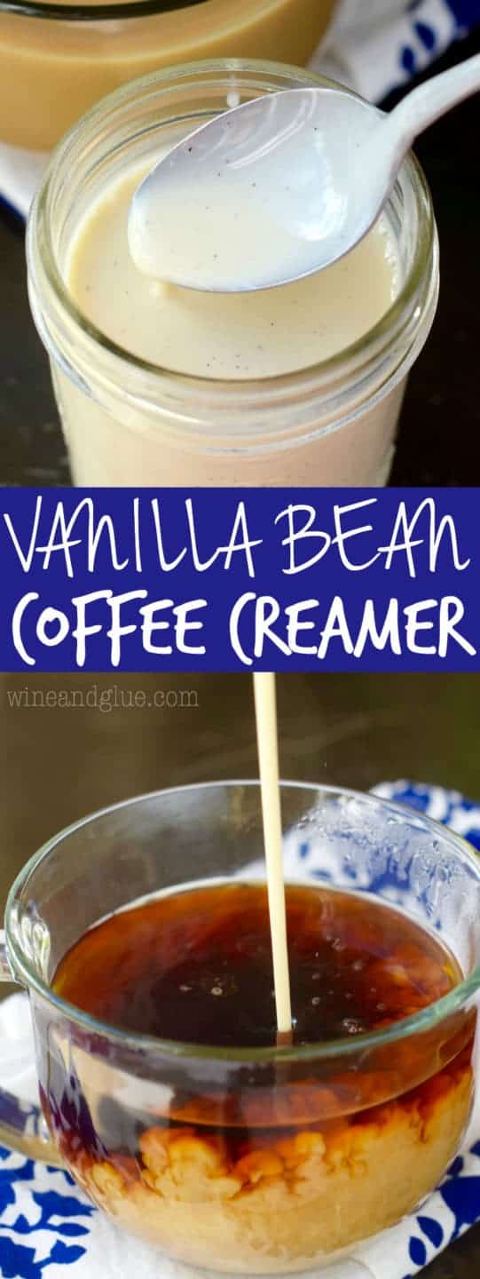 In a glass mug, the Vanilla Bean Creamer is being poured into the dark coffee causing the color to diffuse into a light brown.