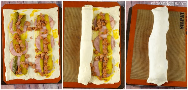A collage on how to create the Cuban Stromboli. The pizza dough is on the bottom with mustard, Swiss cheese, ham, pickles, and Italian sausage. Then, that is all rolled up.