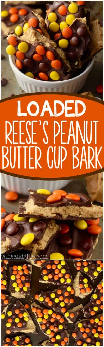 In a ceramic bowl, the Loaded Reese's Peanut Butter Cup Bark are cut in little shards and topped with chocolate and Reese's Pieces.