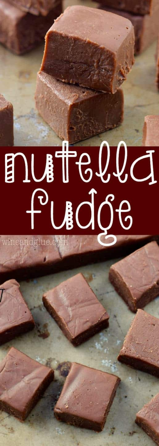 The Nutella Fudge are cut into little cubes and stacked on top of each other.