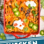 pinterest graphic of overhead of a taco casserole in a baking dish garnished with taco toppings