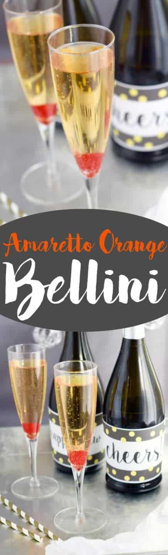 In a champagne fluke, the Amaretto Orange Bellini has a single maraschino cherry at the bottom and bubbling.