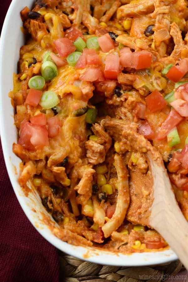 Chicken Taco Casserole spoons up as a cheesy, delicious meal.