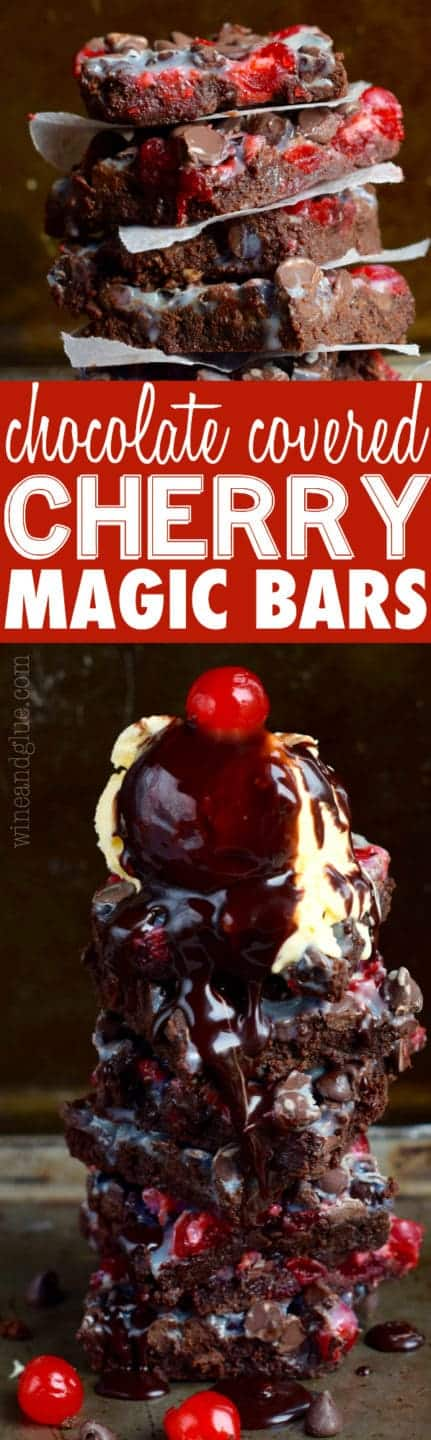 The Chocolate Covered Cherry Magic Bars is stalked high with a scoop of vanilla ice cream on top with a chocolate drizzle.