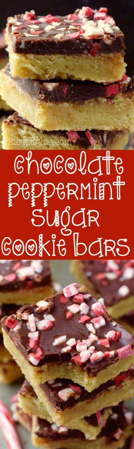 The the Chocolate Peppermint Sugar Cookie Bars is stalked high showing the distinct layers of the sugar cookie and chocolate and topped with crushed peppermint