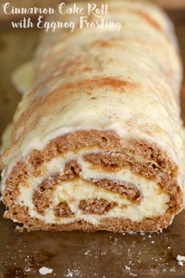 The Cinnamon Cake Roll has a airy cake layer rolled up with a buttercream frosting and covered in a glaze with powdered cinnamon.