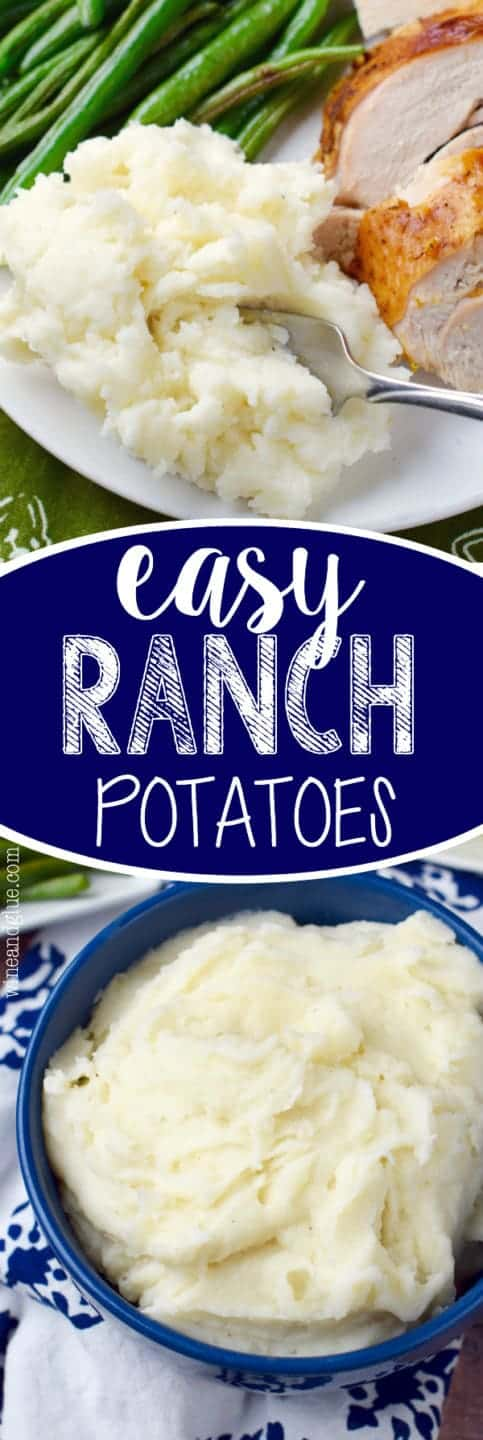 On a white plate, the Easy Ranch Potatoes is a side for roasted green beans and sliced chicken.