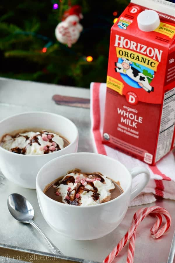 Two white mugs filled with the Peppermint Hot Chocolate in front of Horizon Organic Whole Milk.