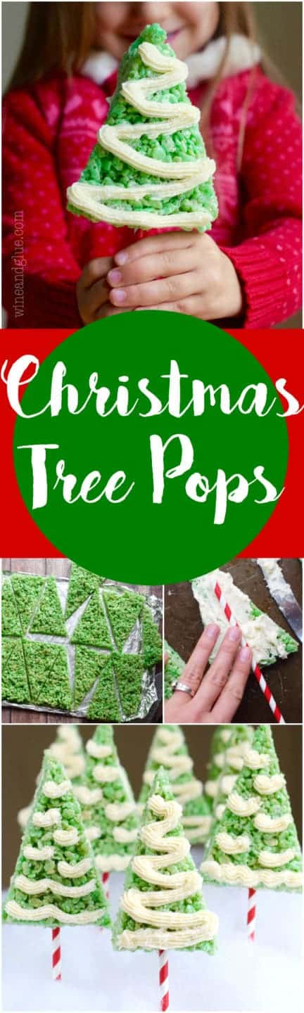 A little girl is holding the Rice Krispie Treat Christmas Tree which is green and triangular with white frosting in a zig zag pattern.