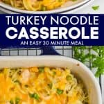 collage of photos of turkey noodle casserole