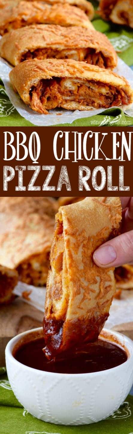 The BBQ Chicken Pizza Roll is cut into slices and has a golden brown crust with shreds of BBQ chicken inside.