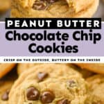 collage of photos of peanut butter chocolate chip cookies