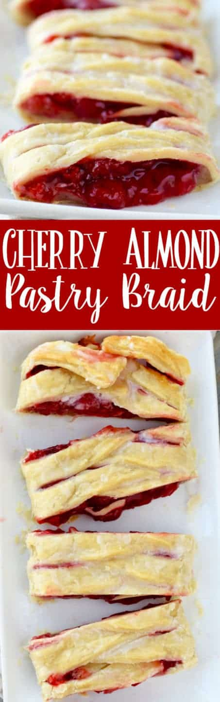 The Cherry Almond Braid has a flaky golden pie crust with a gooey cherry middle that is oozing out.