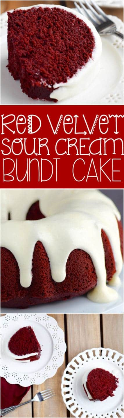 The Red Velvet Sour Cream Bundt Cake has a moist and airy cake layer and dripping around the sides is the Cream Cheese Buttermilk Frosting.