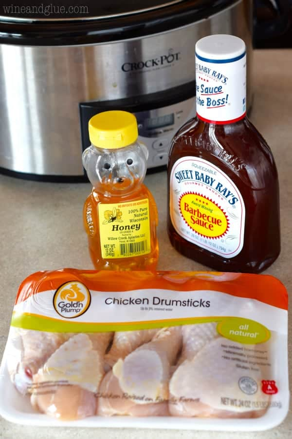 A photo of the ingredients of the Honey BBQ Chicken Drumsticks (Chicken Drumsticks, BBQ, and honey).