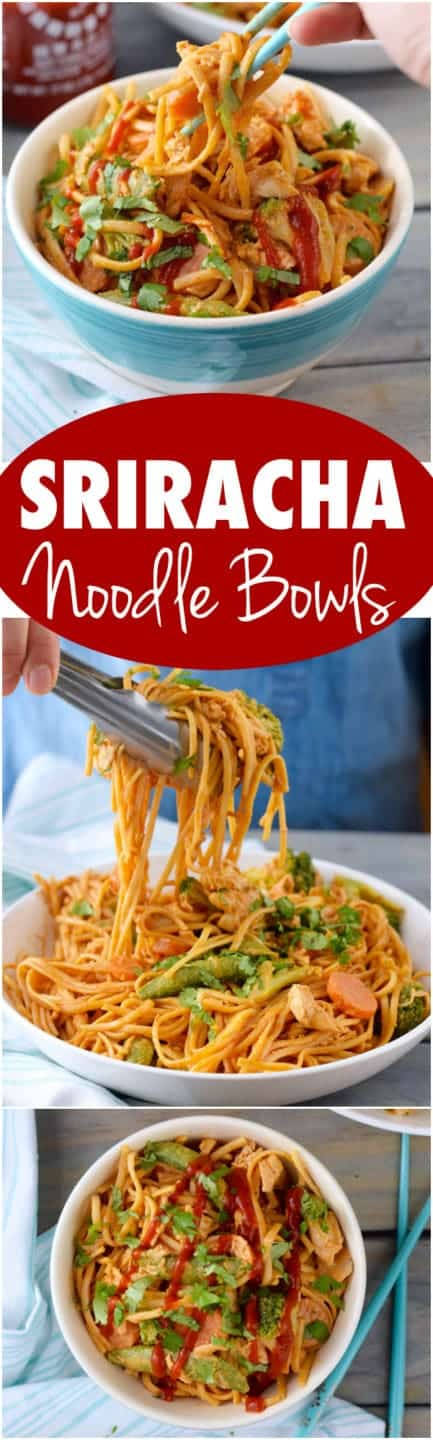 In a blue bowl, the Sriracha Noodle Bowls have chicken, carrots, broccoli, and water chestnuts.