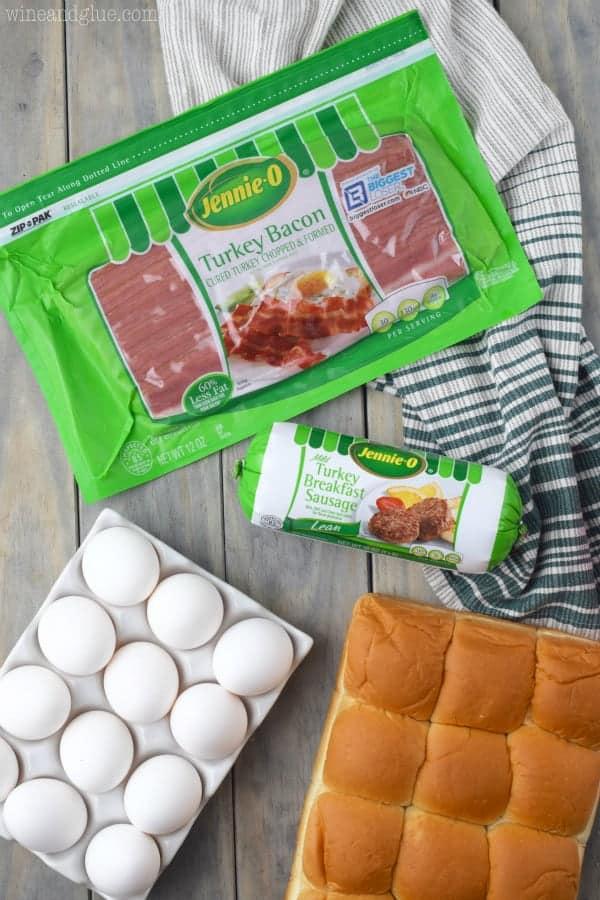 An overhead photo of Jennie-O's Turkey Bacon and Turkey Breakfast Sausage.