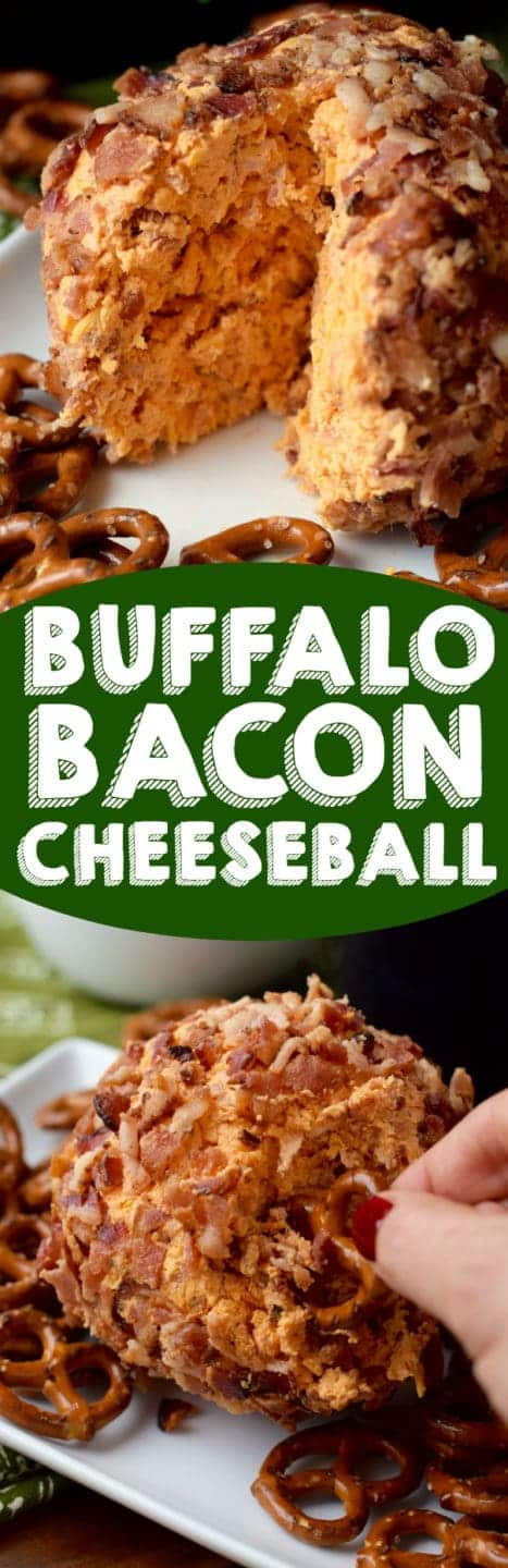 This Buffalo Bacon Cheeseball is easy to throw together and the perfect appetizer for a party!