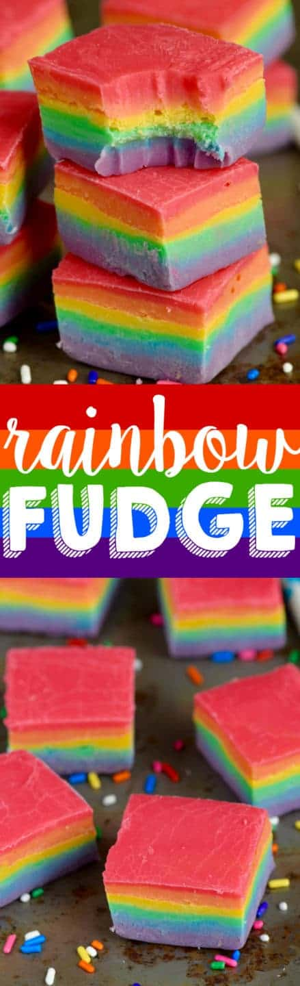 The Rainbow Fudge is on a baking sheet in cube shapes showing the distinct layers of red, orange, yellow, green, blue, and purple (in that order).