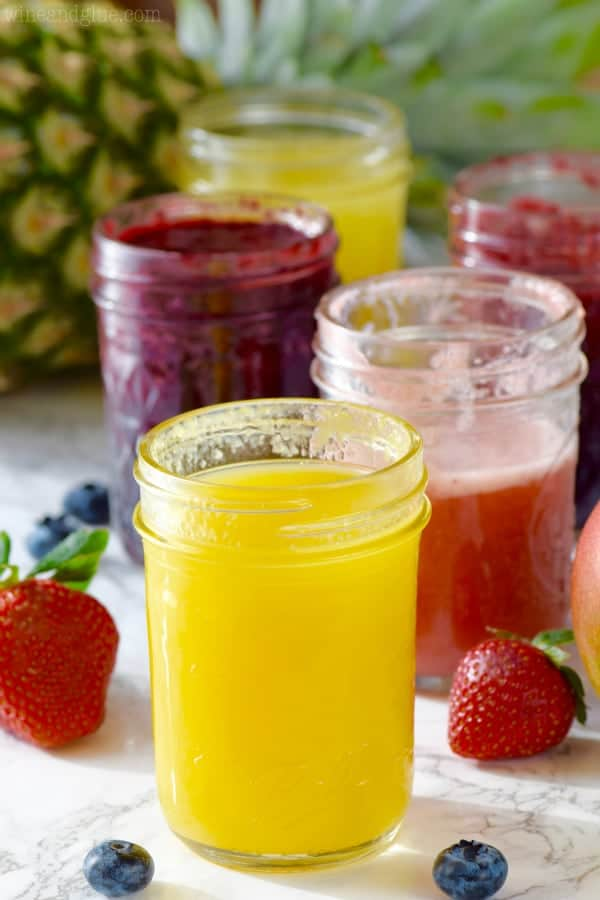 In mason jars, the syrup for the Skinny Italian Sodas are different flavors (strawberry, lemon, blueberry, and more).
