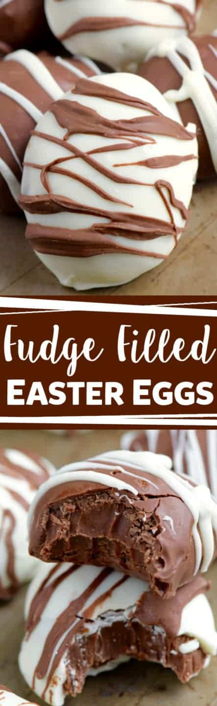 A white chocolate egg is drizzled with some milk chocolate creating a zebra stripe pattern for the Fudge Filled Easter Eggs.